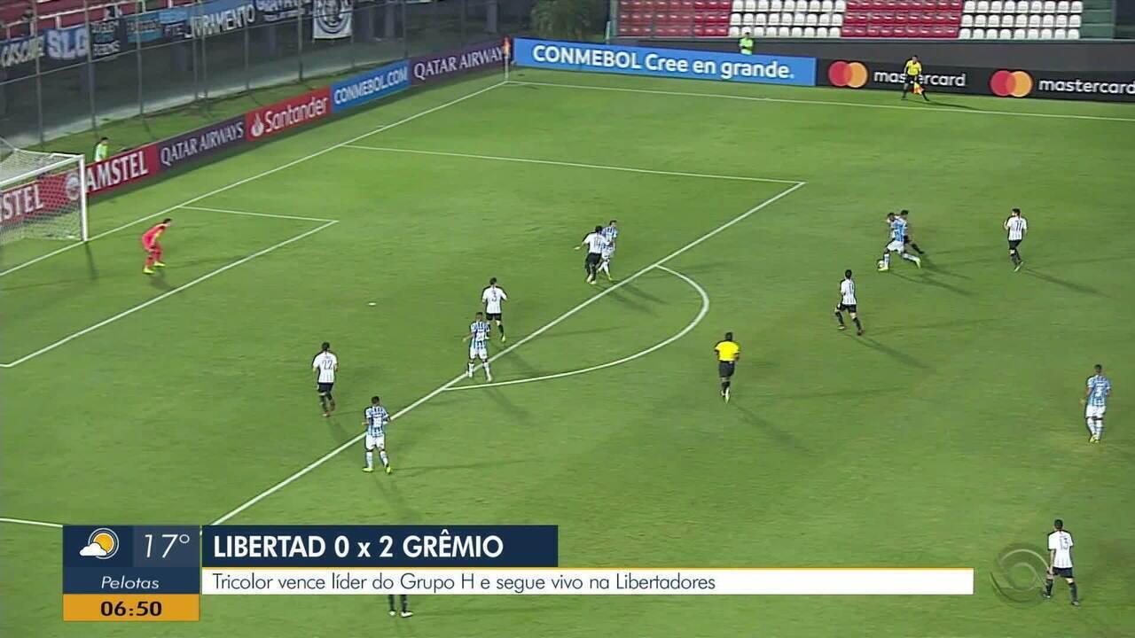 Grêmio vence Libertad por 2 x 0 e fica mais tranquilo para a Libertadores