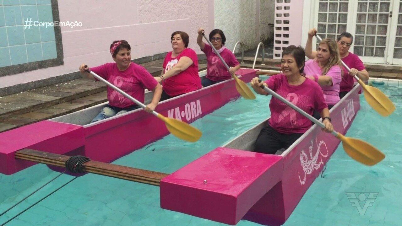 Mulheres do Instituto Neo Mama descobrem na remada uma força para a vida