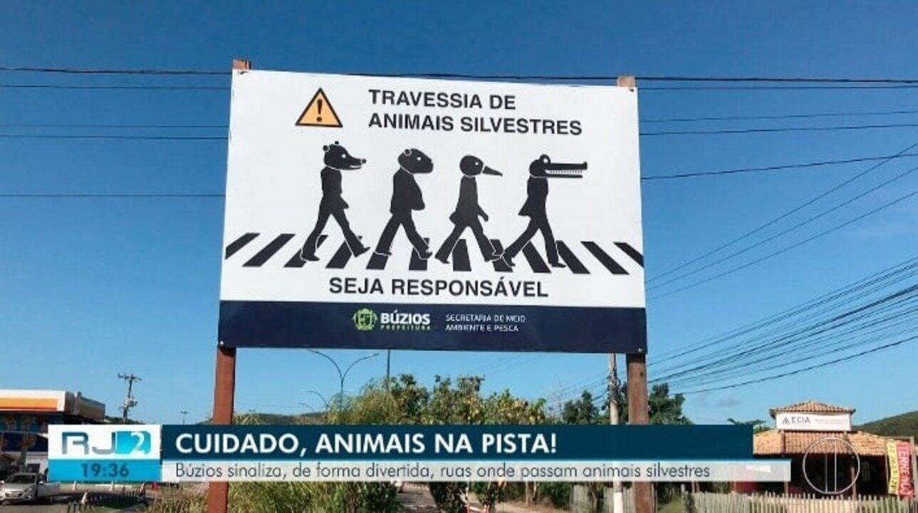 Búzios sinaliza, de forma divertida, ruas onde passam animais silvestres
