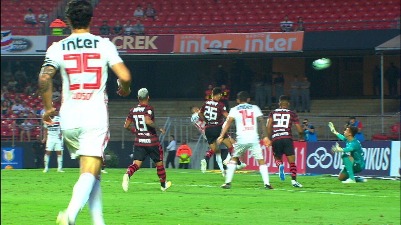 Melhores momentos de São Paulo 1 x 1 Flamengo pela 3ª rodada do Campeonato Brasileiro
