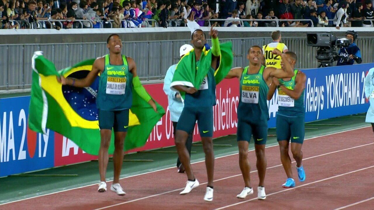 Brasil fica com o ouro no 4 x 100m do mundial de revezamento de atletismo