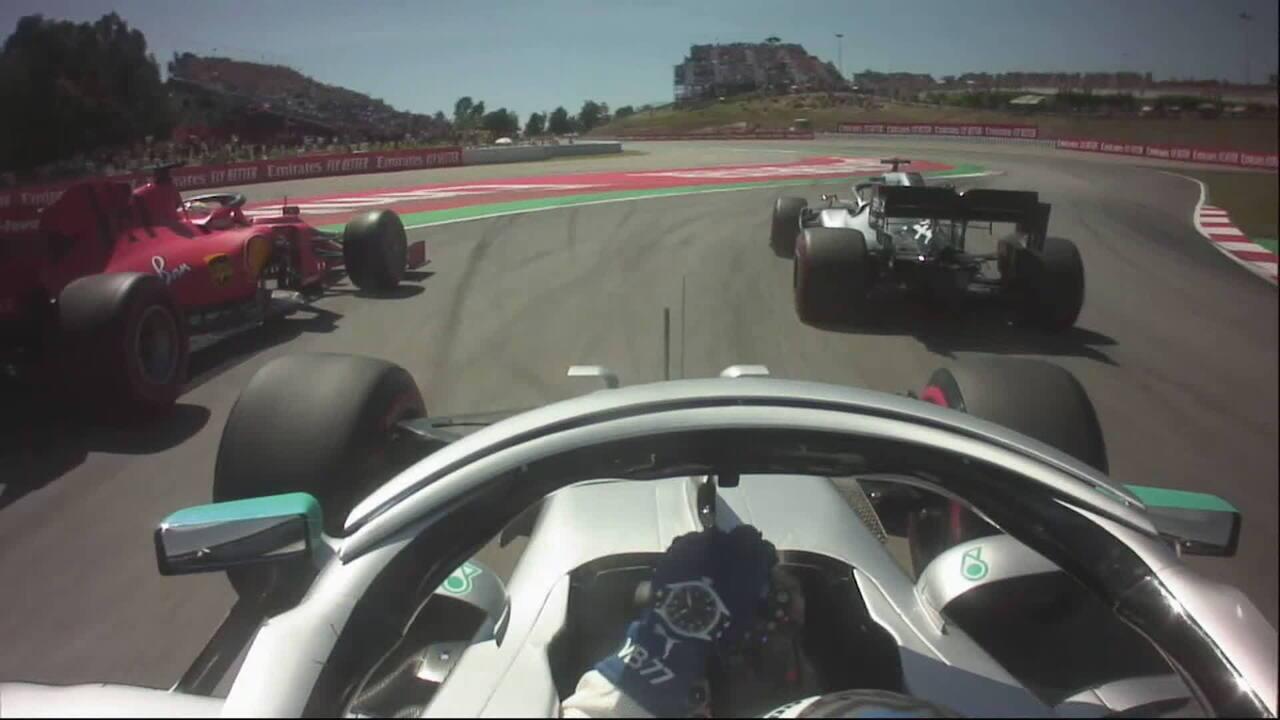 Câmera onboard de Valtteri Bottas na largada do GP da Espanha