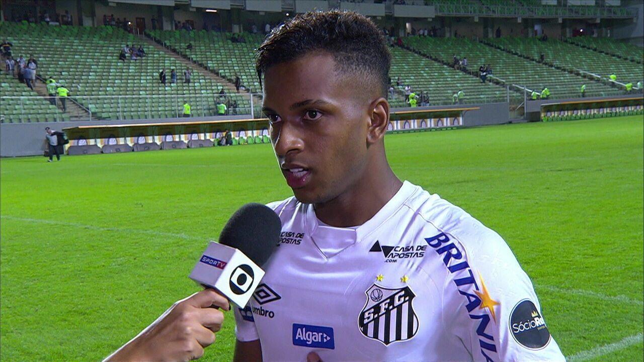 Rodrygo comemora empate sem gols fora de casa: