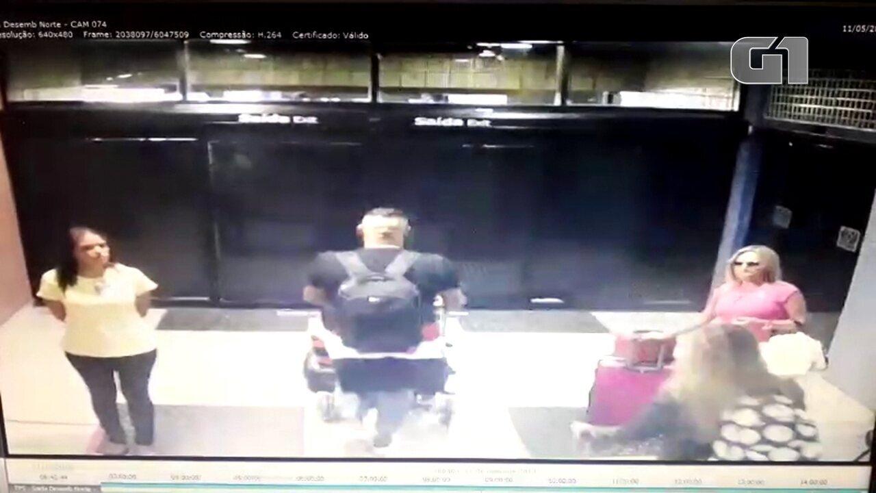 Vídeo mostra homem saindo do Aeroporto do Recife com mala onde estava vestido de noiva
