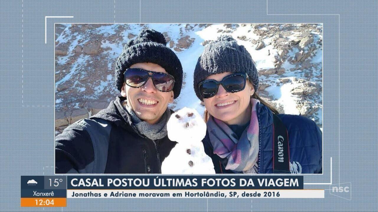 Casal postou fotos nas redes sociais antes da tragédia no Chile
