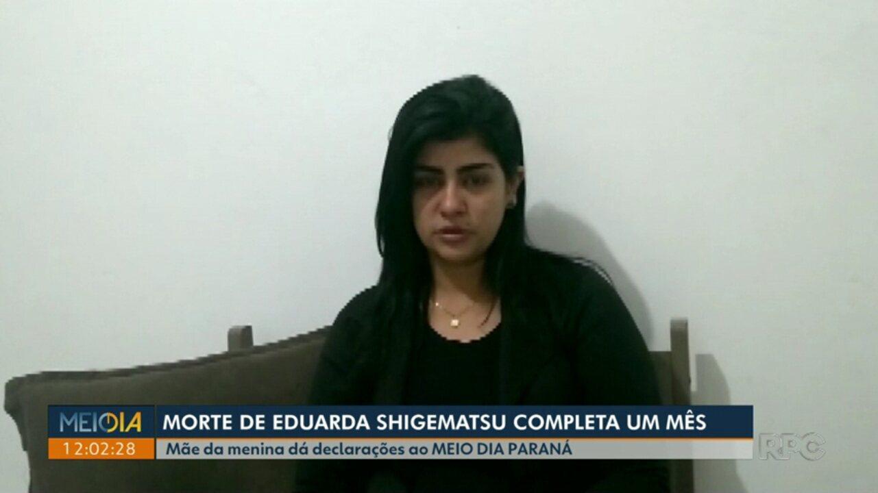 Meio Dia Paraná conversa com a mãe de Eduarda Shigematsu após um mês da morte da menina