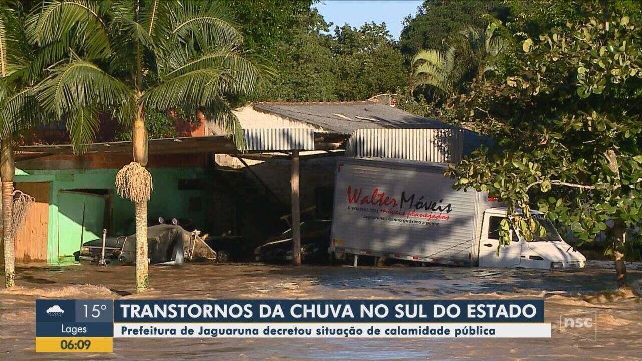 Prefeitura de Jaguaruna decreta situação de calamidade pública após estragos da chuva