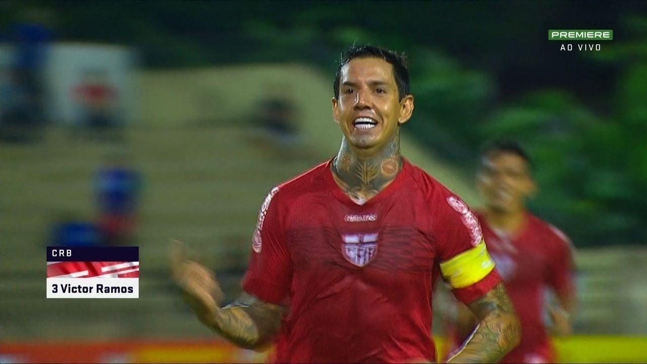Aos 18 do 1º T, Ferrugem cobra escanteio, e Victor Ramos marca de cabeça contra o São Bento