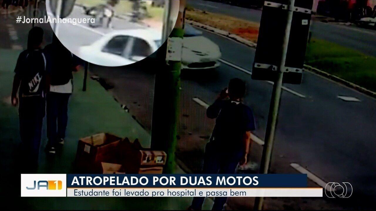 Dois motociclistas atropelam estudante que descia de ônibus, em Anápolis