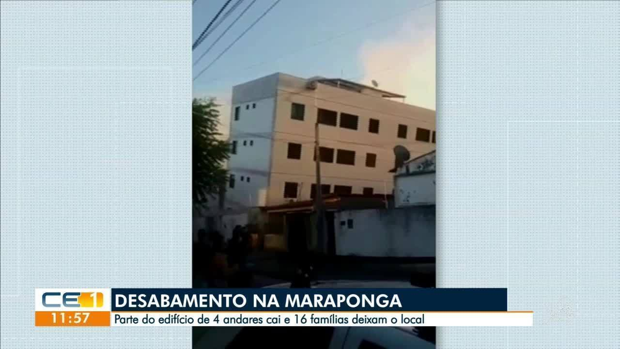 Parte de prédio desaba e ameaça cair sobre casas na Maraponga