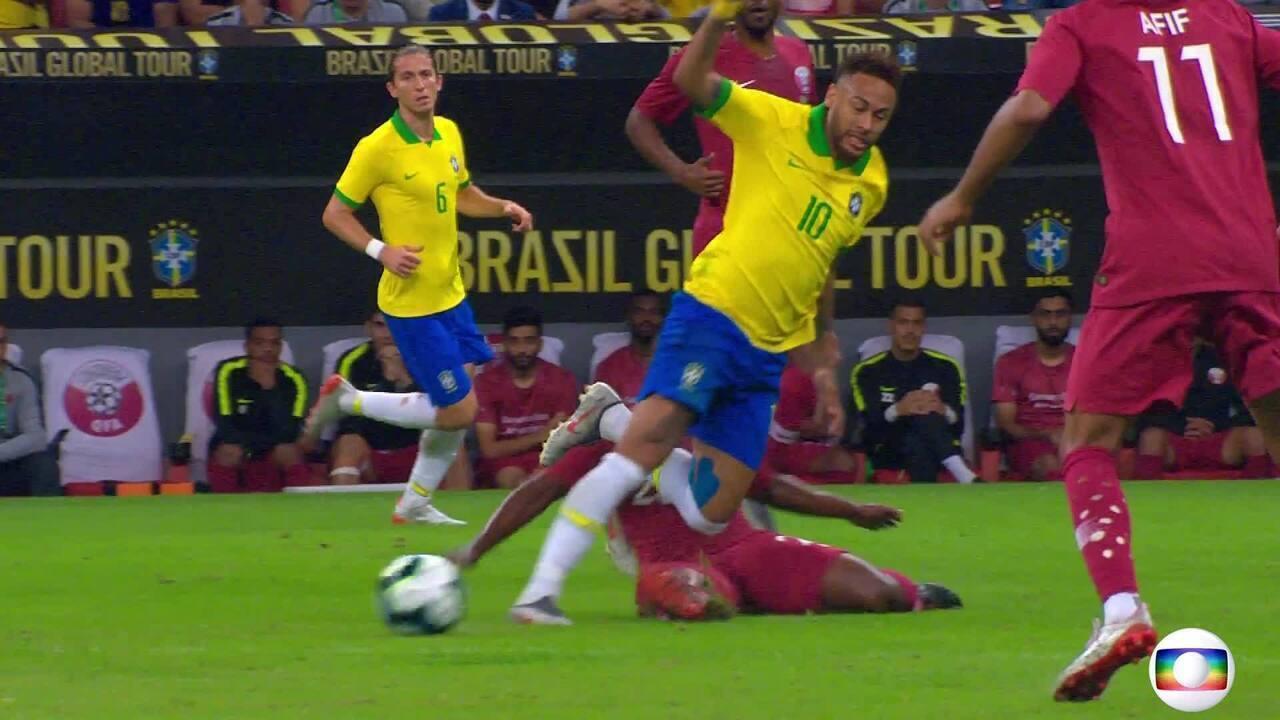 Veja o momento em que Neymar se machuca no amistoso Brasil x Catar