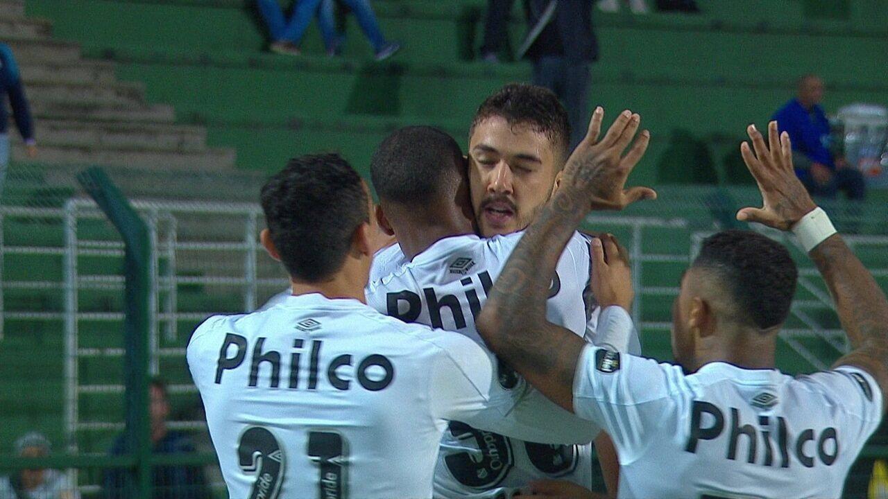 Gol do Santos! Gustavo Henrique sobe bem e marca de cabeça aos 5 do 1º tempo