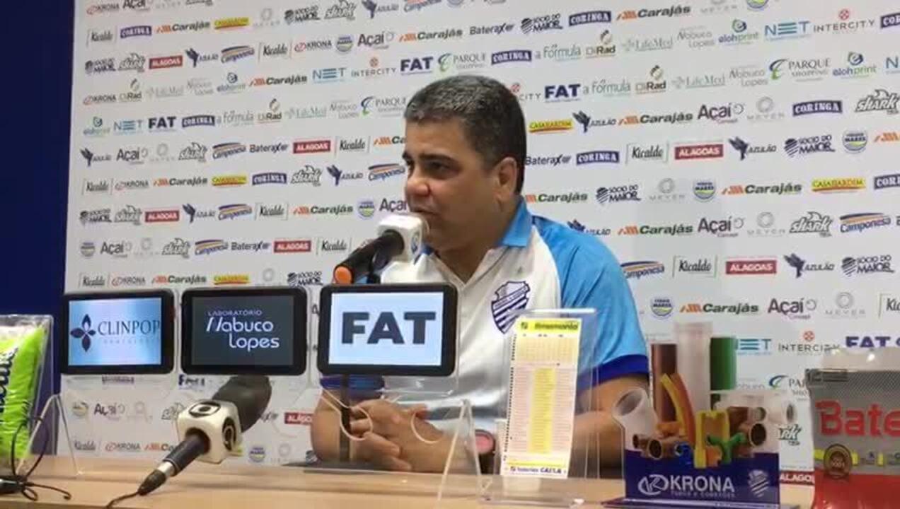 Na coletiva de sexta, Cabo disse que CSA vai encarar o Botafogo com espírito do jogo com o Goiás: