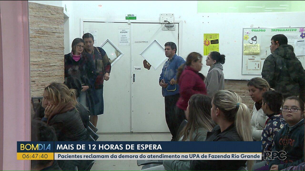 Pacientes aguardam até 12 horas por atendimento em UPA de Fazenda Rio Grande