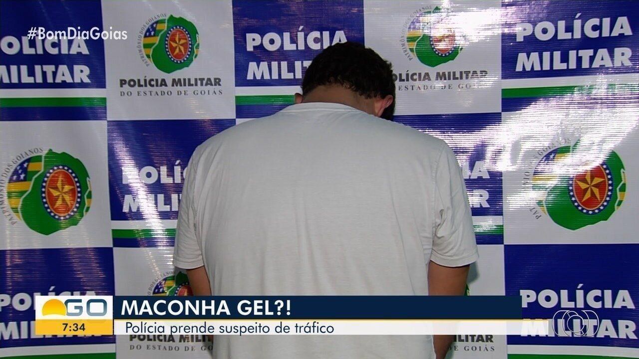 PM prende homem com suposta maconha em gel, em Goiânia