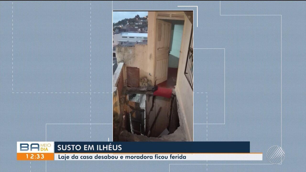 Mulher fica ferida após laje de casa desabar em Ilhéus