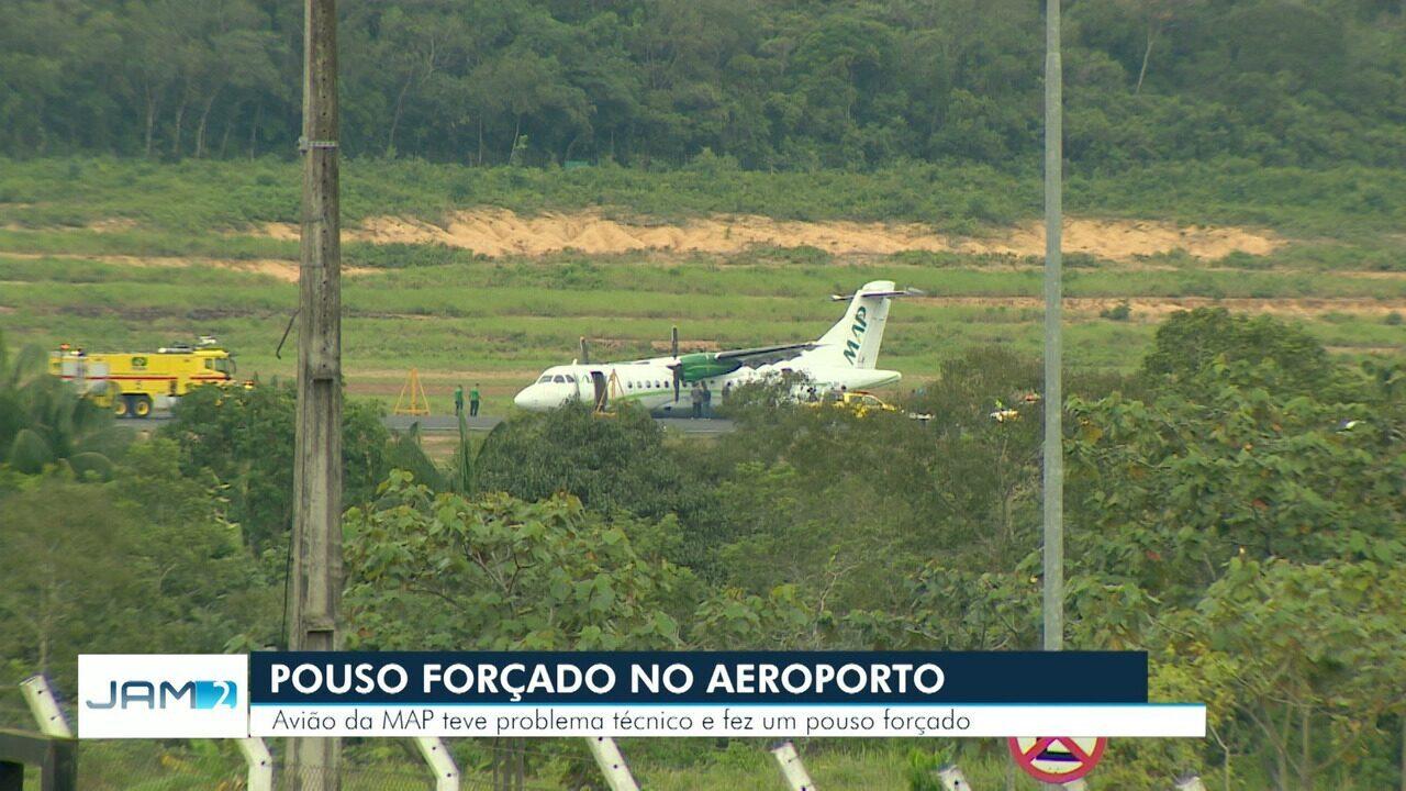 Avião faz pouso de barriga no aeroporto de Manaus e voos são suspensos