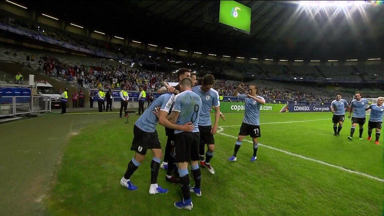 Os gols de Uruguai 4 x 0 Equador pela Copa América 2019