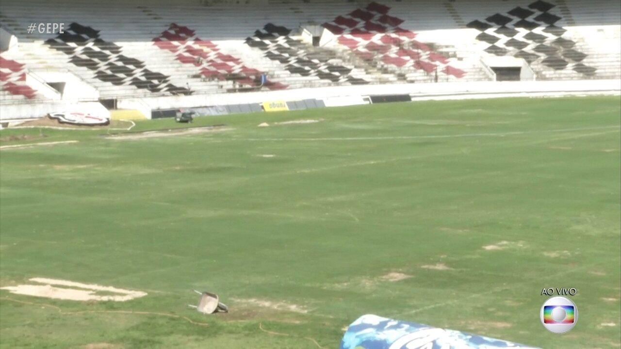 Santa Cruz e Náutico se enfrentam no sábado, mas gramado do Arruda não está nada bom