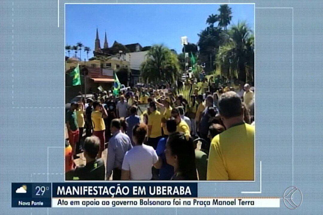 Manifestação em apoio ao governo Bolsonaro é realizada em Uberaba