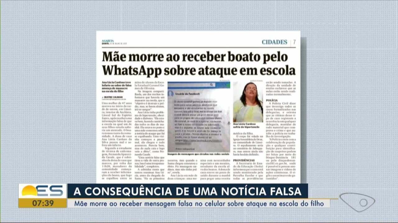 Mãe morre ao receber boato pelo WhastApp sobre ataque em escola no ES