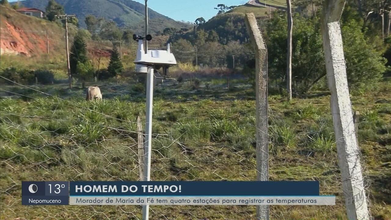 """Morador acompanha baixas temperaturas e vira o """"homem do tempo"""" em Maria da Fé (MG)"""