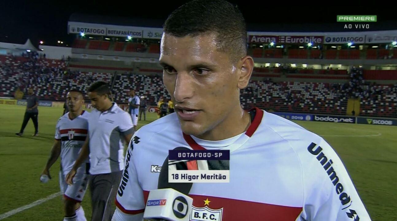 Higor Meritão pede maior empenho ao Botafogo-SP na sequência da Série B