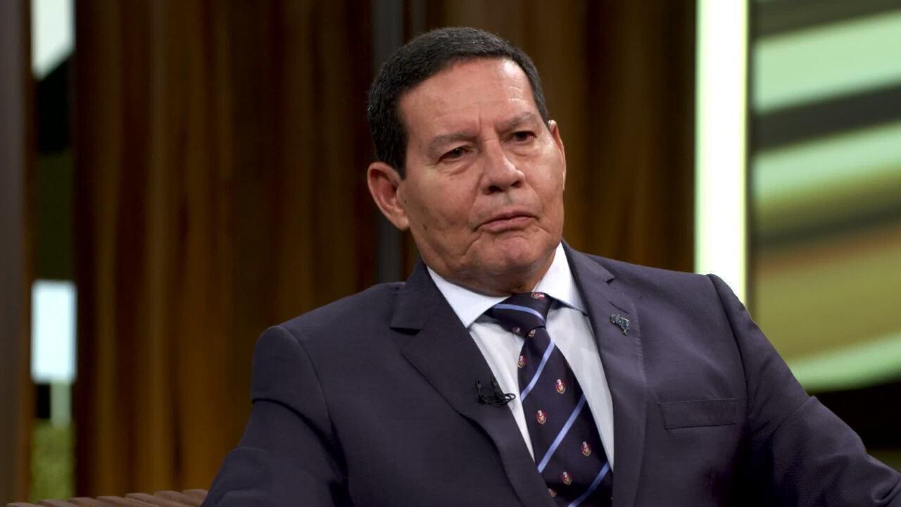 Hamilton Mourão, vice-presidente do Brasil, participa do 'Conversa com Bial' de terça, 16/