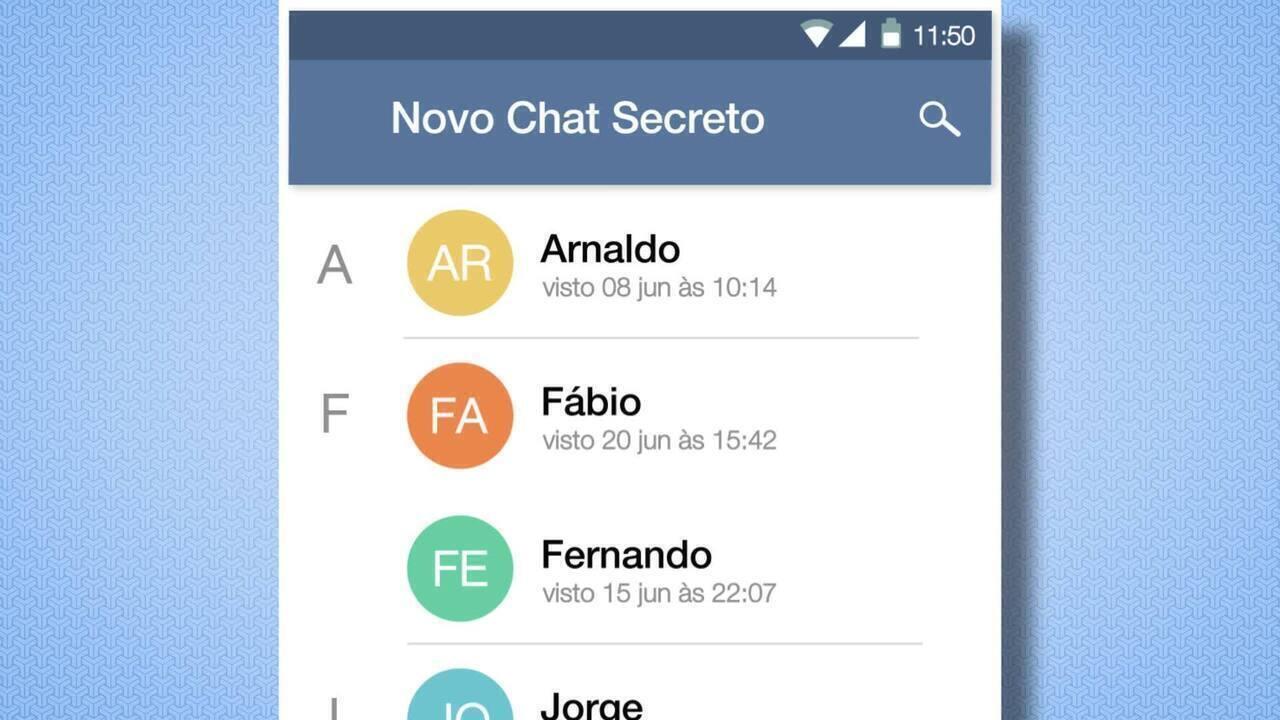 Usando o chat secreto do Telegram