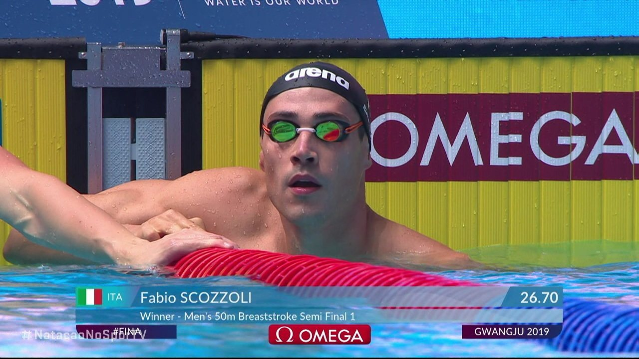 Fabio Scozzoli vence a primeira série dos 50m peito masculino e brasileiro fica em segundo lugar