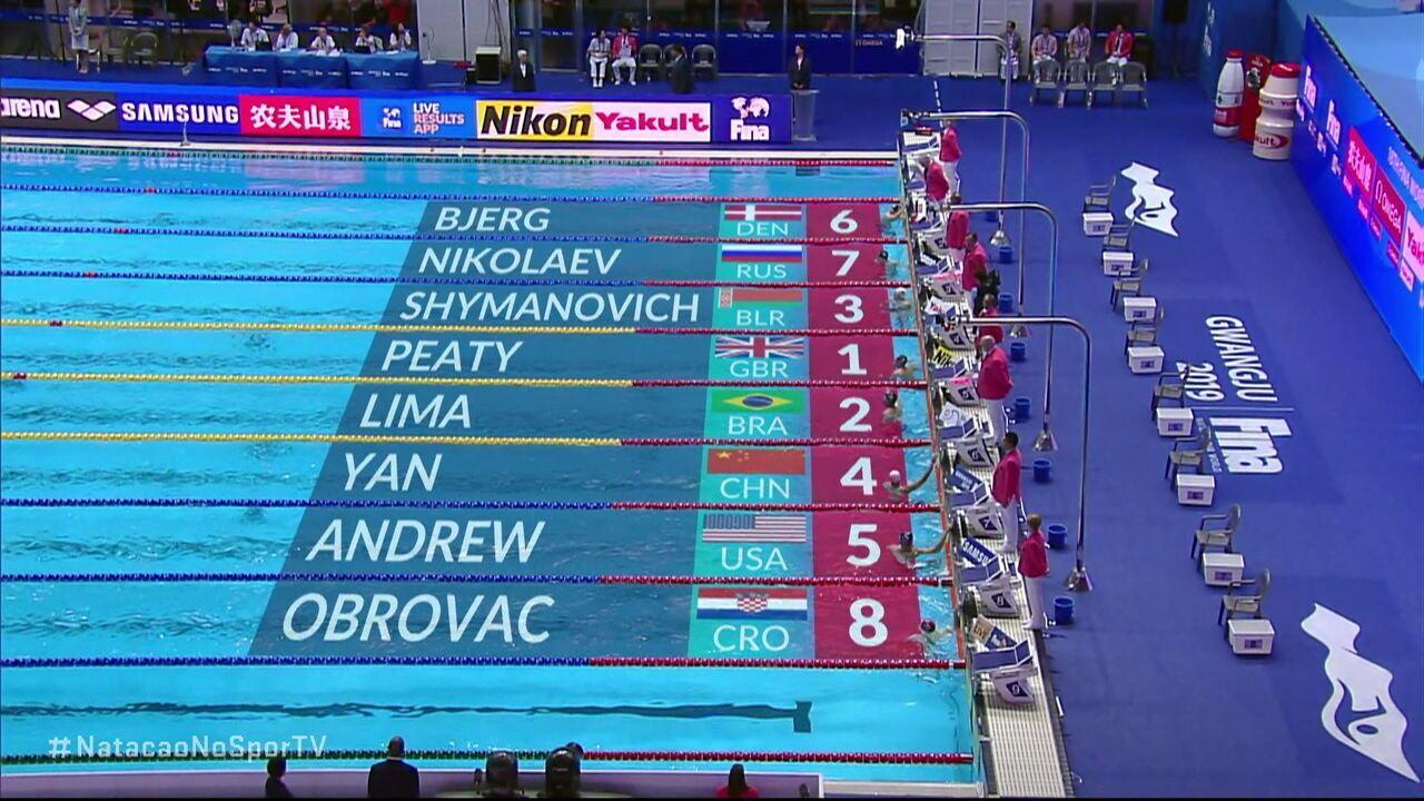Adam Peaty vence a segunda série dos 50m peito masculino e brasileiro conquista o segundo lugar