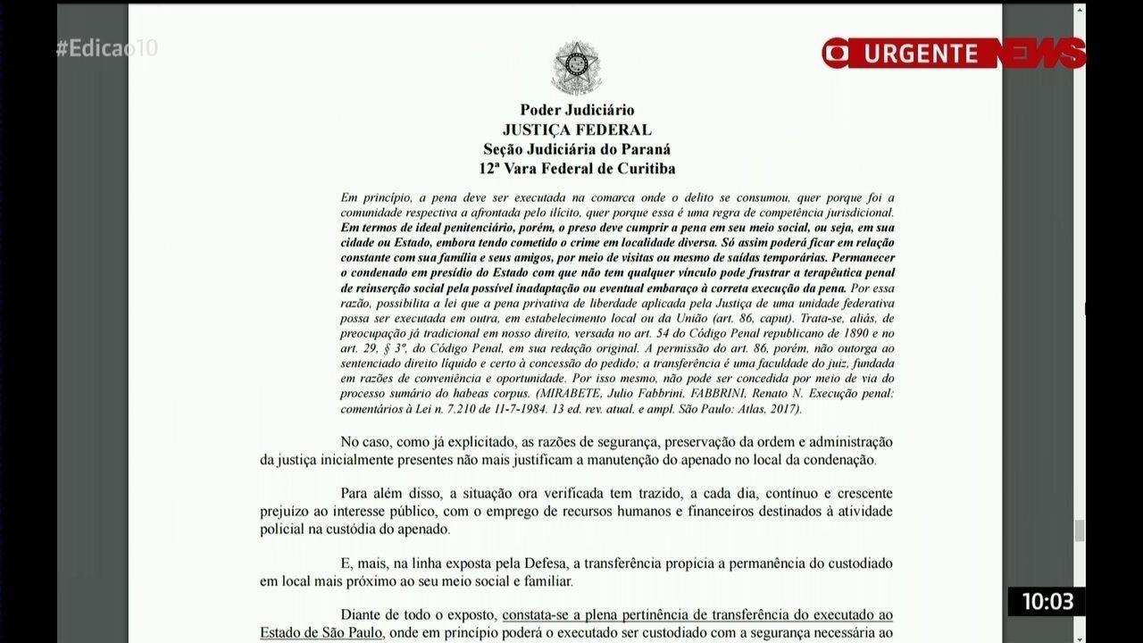 Justiça autoriza a transferência de Lula para São Paulo