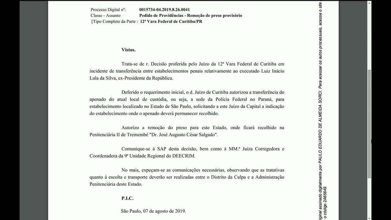 Justiça de SP autoriza transferência de Lula para Tremembé