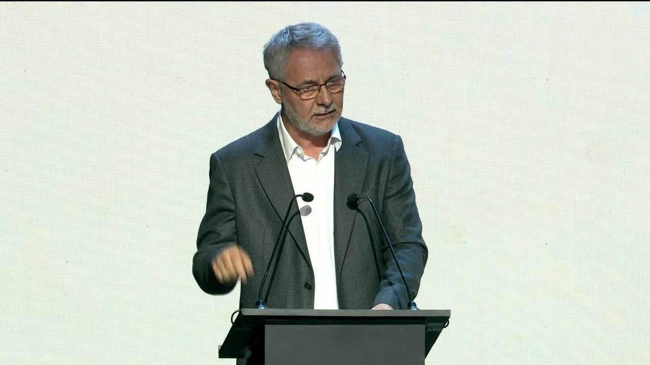 Carlos Henrique Schroder discursa no novo Módulo de Gravação 4, nos Estúdios Globo