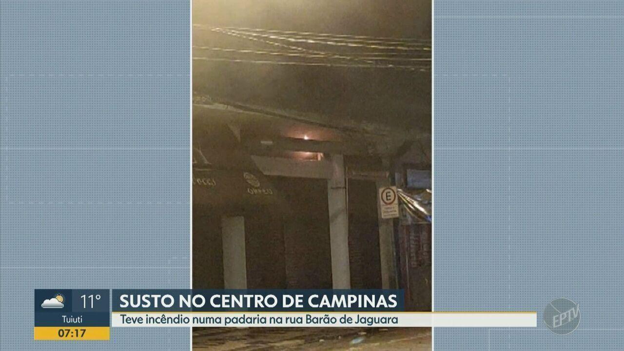 Padaria no centro de Campinas pega fogo