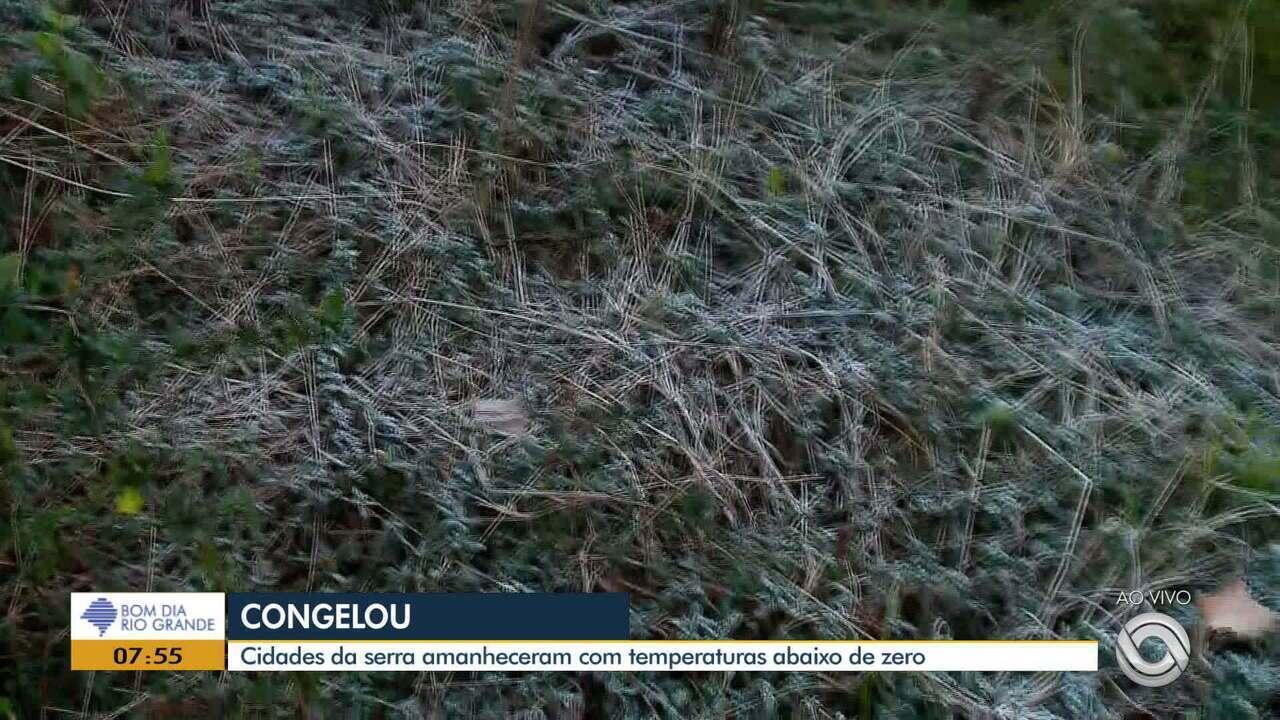 Cidades da Serra do RS amanhecem com temperaturas abaixo de zero nesta quarta (14)