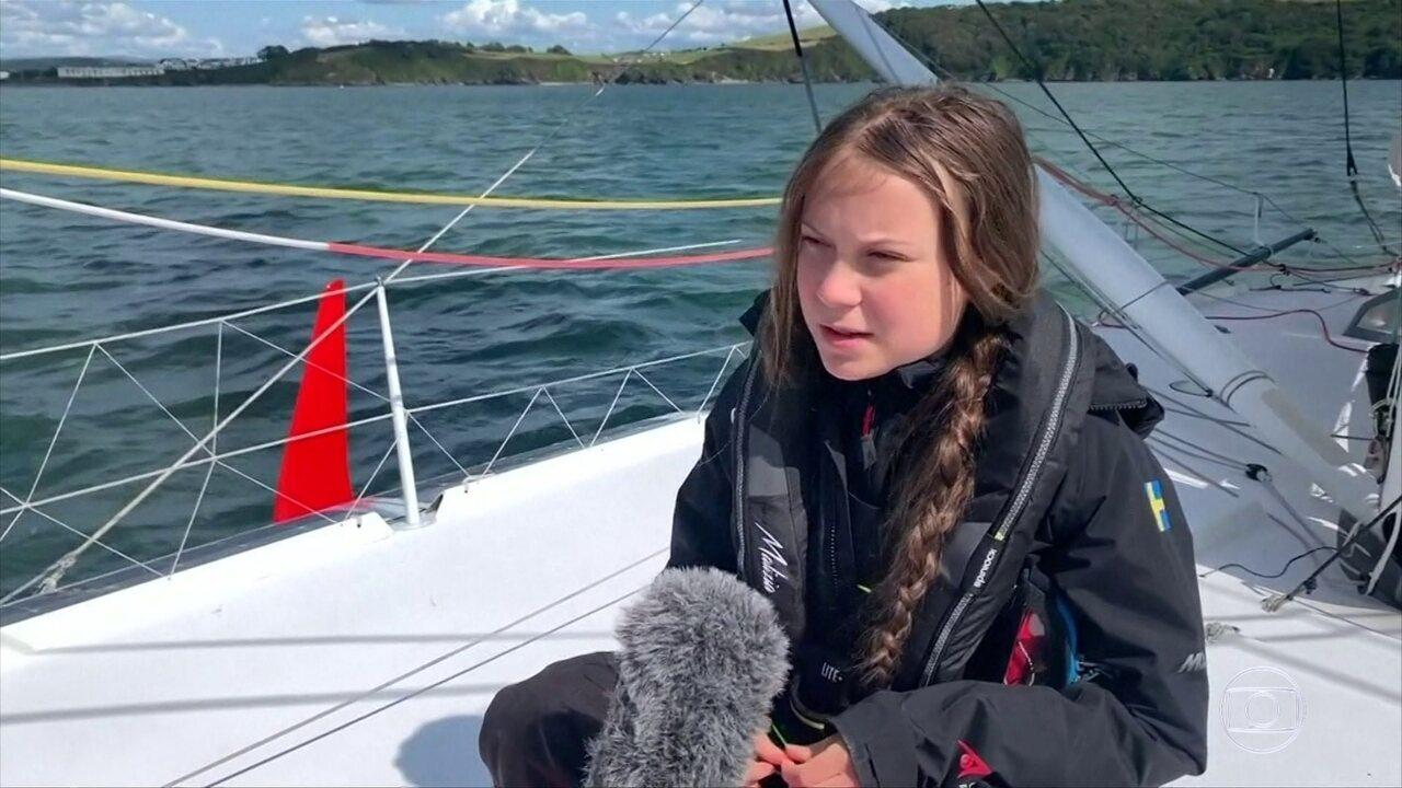VÍDEO: Jovem ativista, Greta Thunberg, faz viagem de veleiro entre os EUA e o Reino Unido