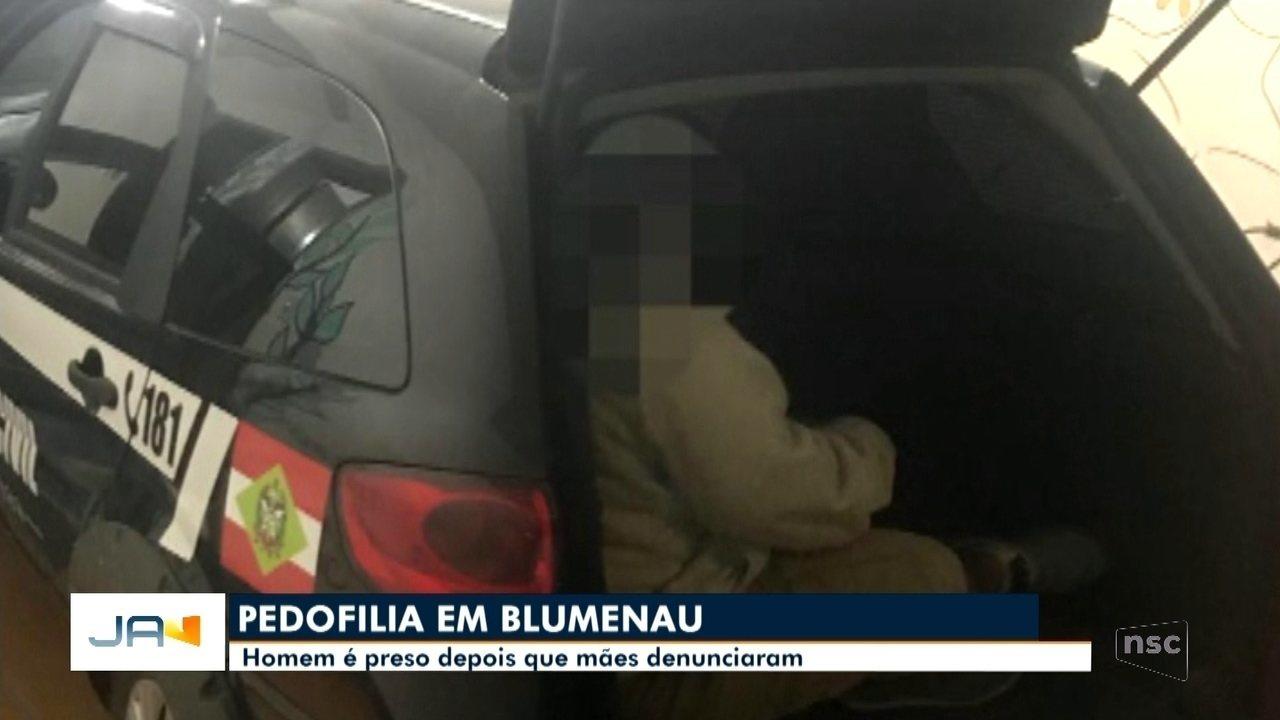 Em Blumenau, homem é preso suspeito de pedofilia