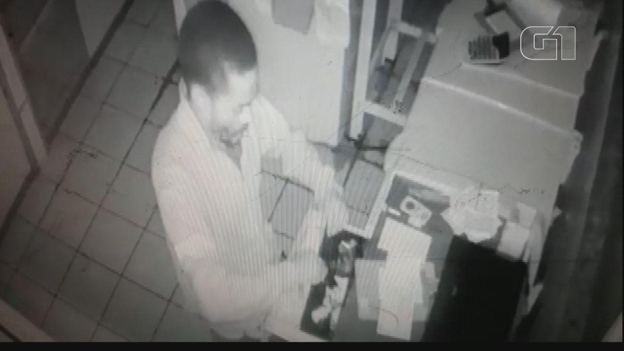 Câmera flagra furto de celular e notebook de lanchonete em Ibaté