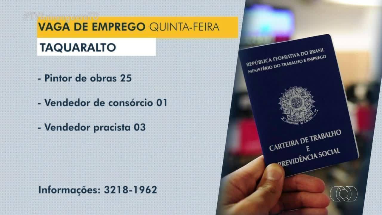 Veja as vagas de emprego disponíveis em Araguaína, Taquaralto e Paraíso