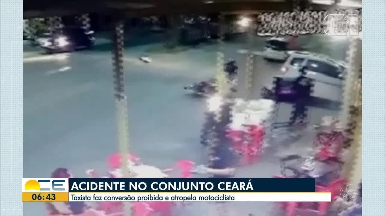 Taxista faz conversão proibida e atropela motociclista no Conjunto Ceará