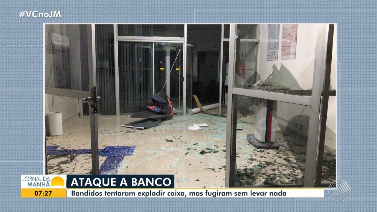 Criminosos atacam agência bancária e tentam explodir cofre, na região sul do estado
