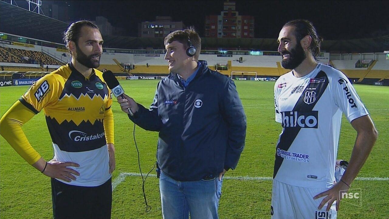Semelhança entre Léo Gamalho e Renan Fonseca vira meme; Tigre e Macaca ficam no 0 x 0