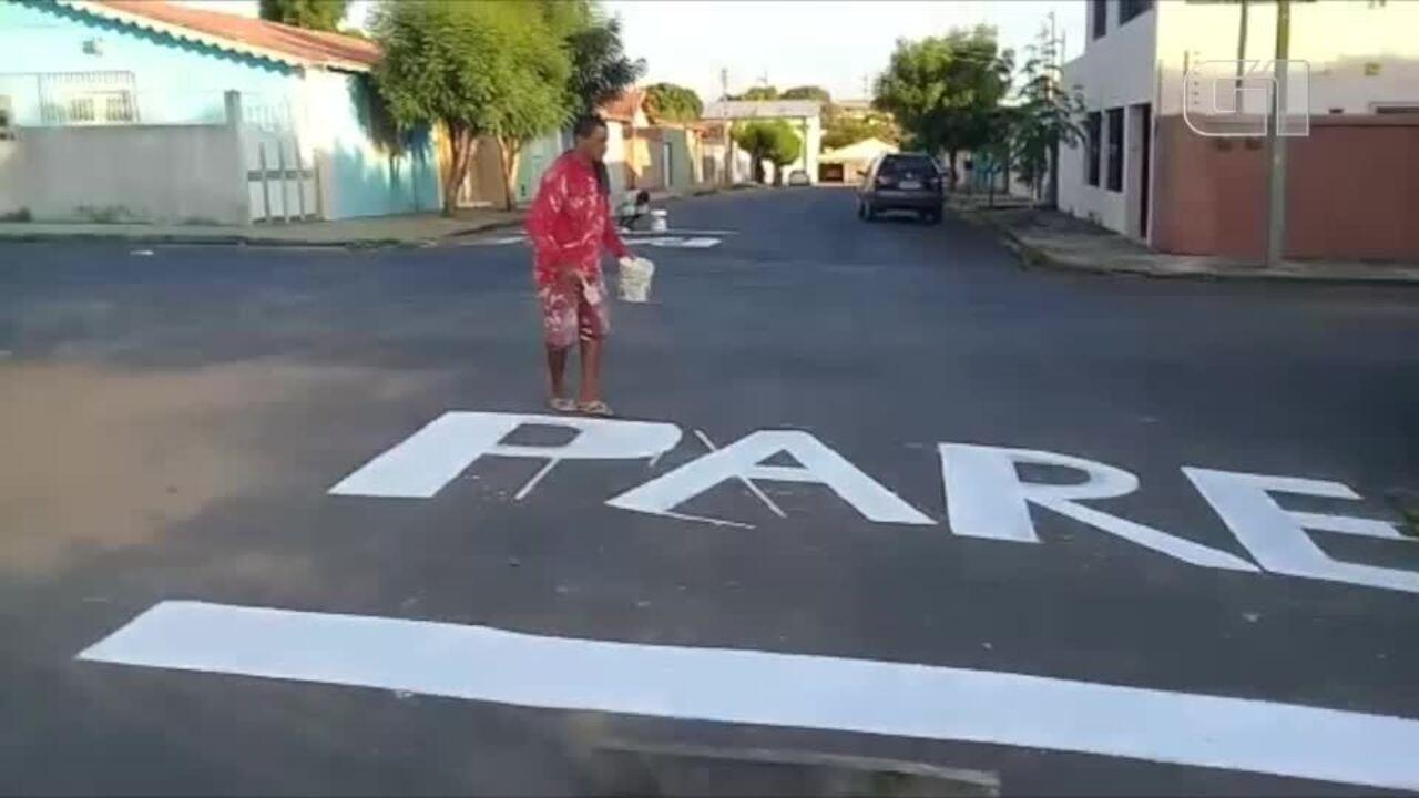 Após muitos acidentes moradores da Zona Sul mandam pintar sinalização horizontal em via