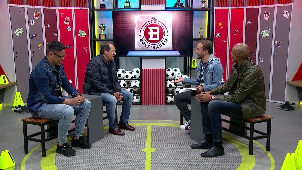 Roger Flores recebe o ex-volante Renan e o ex-zagueiro Alex Silva, o Pirulito, além de Muricy Ramalho no Boleiragem