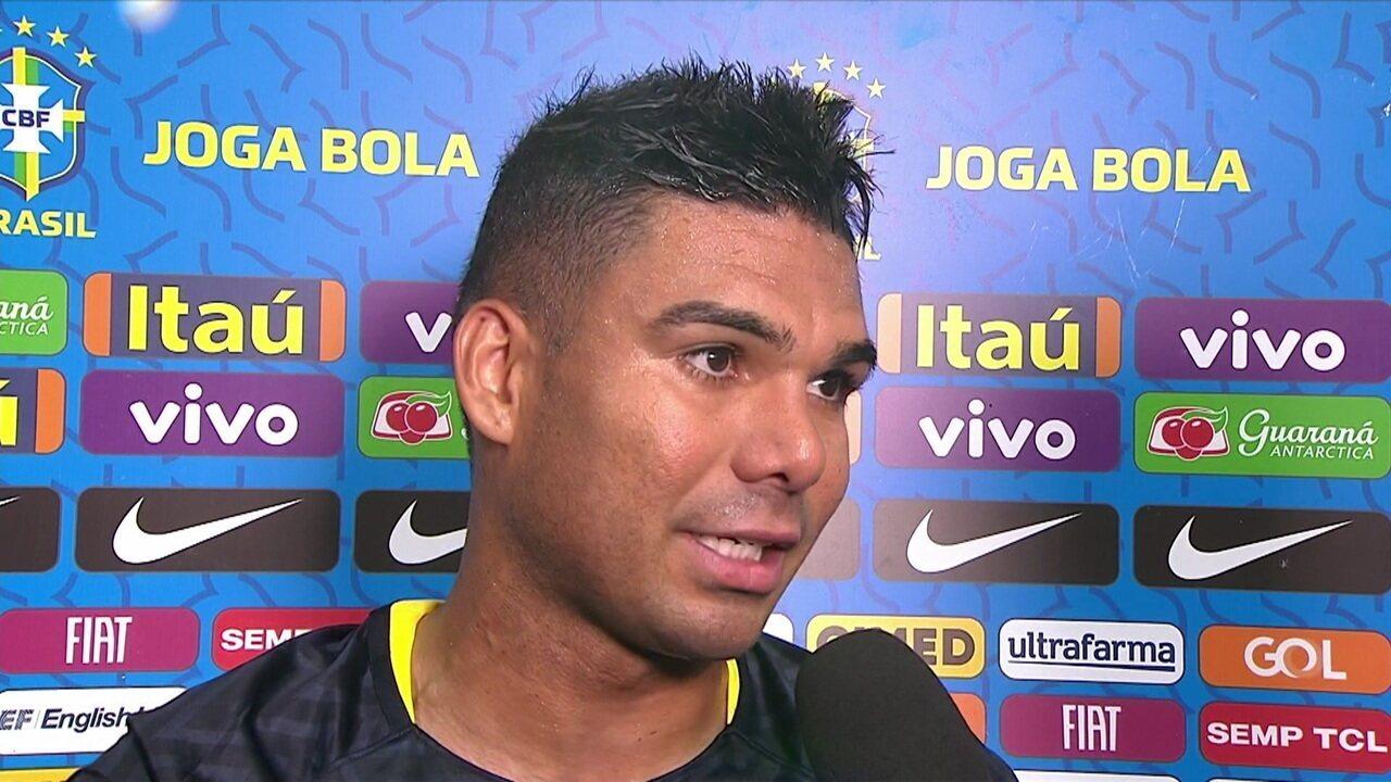 Casemiro fala sobre gol e clima quente em amistoso contra a Colômbia