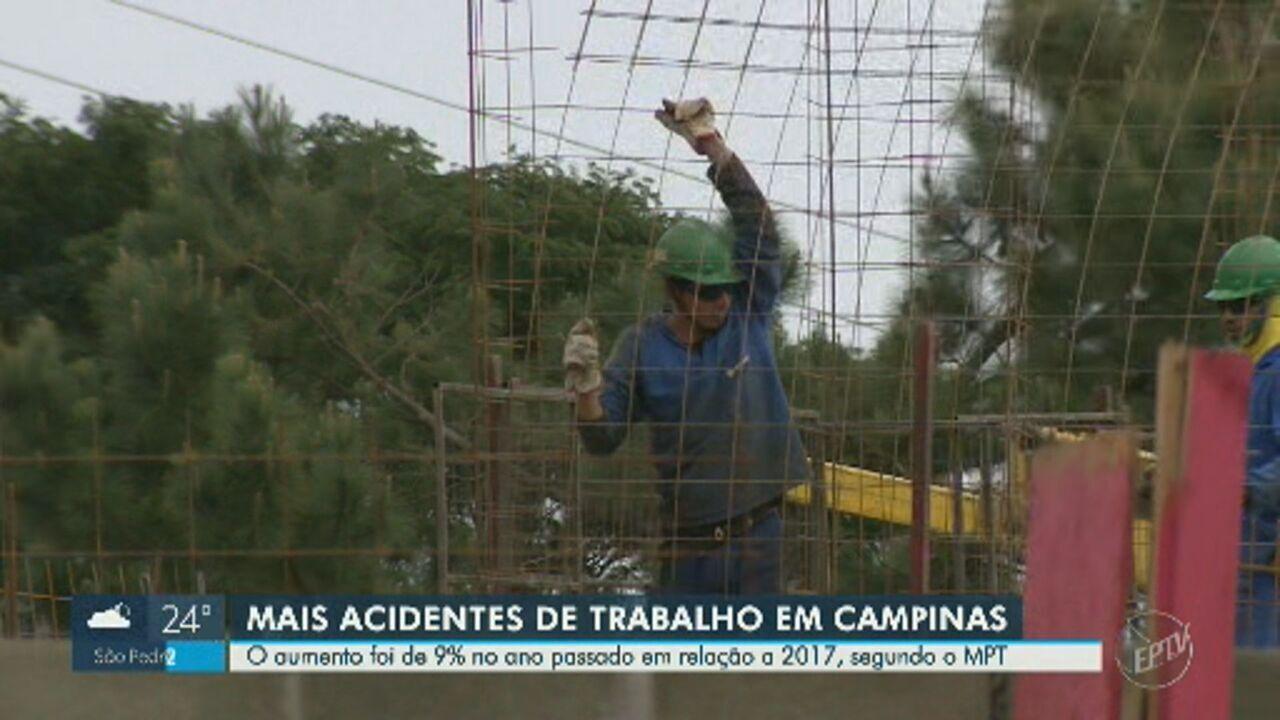 Campinas registra alta de 9% no número de acidentes de trabalho, diz MPT