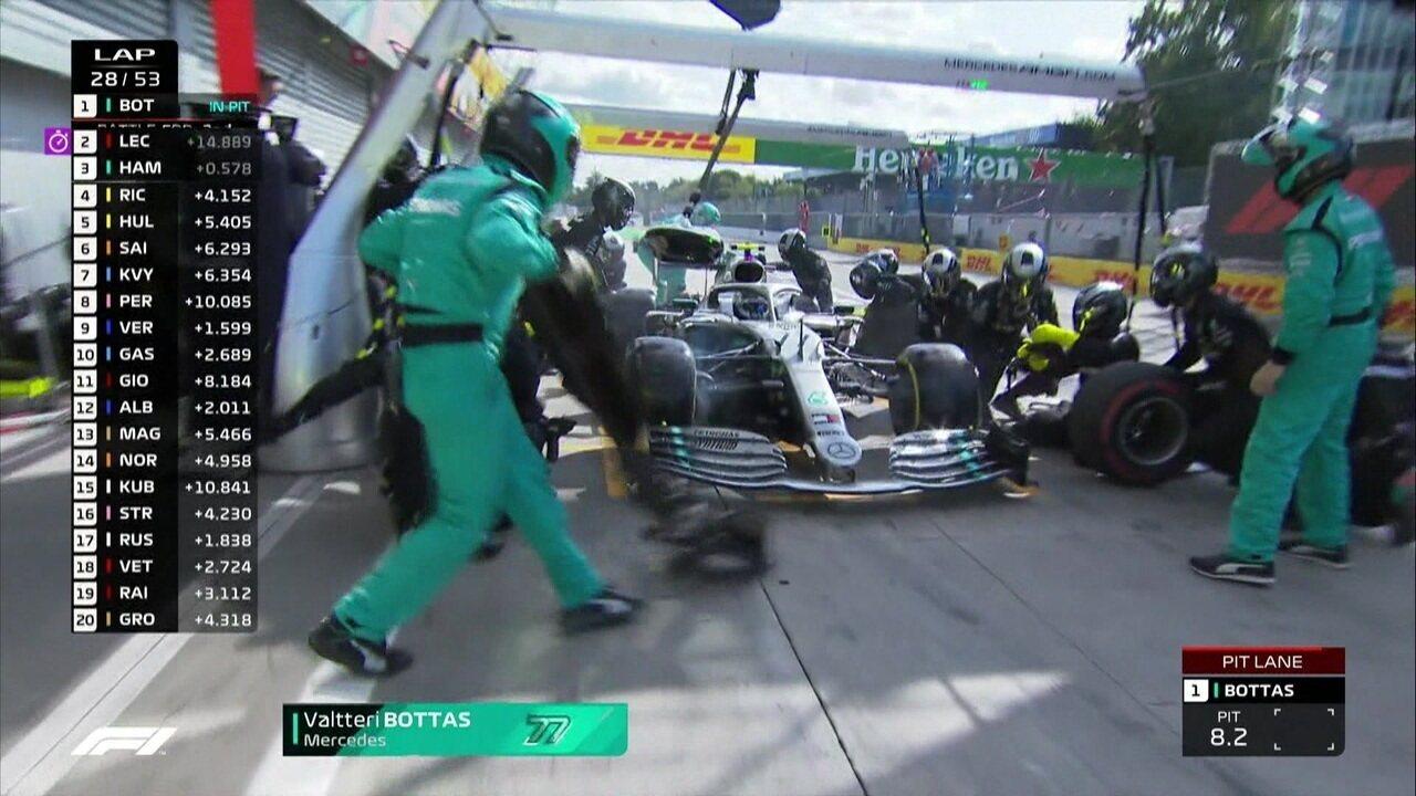 Valteri Bottas vai para os boxes e volta atrás de Ricciardo