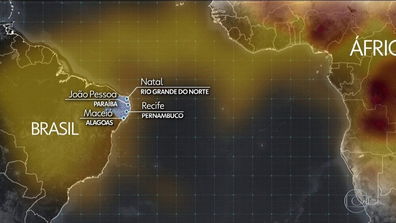 Natal, João Pessoa, Recife e Maceió enfrentam a fuligem vinda da África