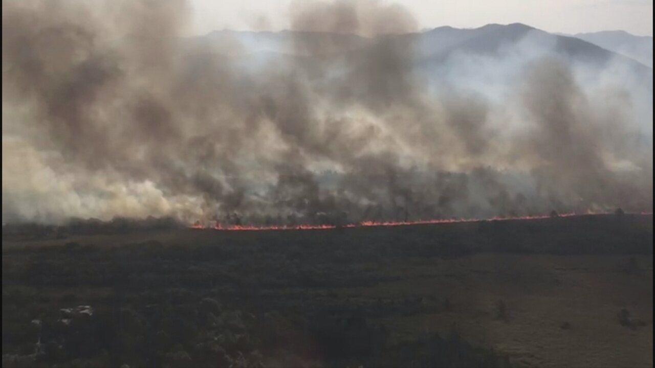 Fogo destrói mais de 500 hectares de vegetação no Parque Estadual Serra do Tabuleiro